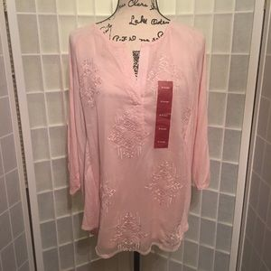 RXB Womens Size XL Pink Blouse Button Up Sleeves